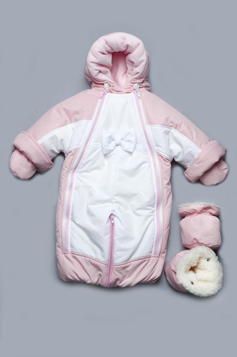 Детский зимний комбинезон-трансформер на меху для девочки Модный карапуз